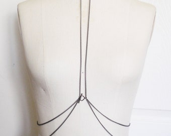 Chain Body Harness, Leather Collar, Leather Harness, Necklace with Attached Chain, Belly Dance Costume, Sexy Burlesque, Body Chain Harness
