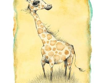 Philosophical Giraffe illustration print