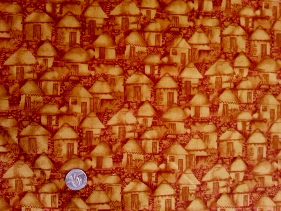 Cranston QuiltShop VIP Yellow Tonal Huts Village Cotton Fabric