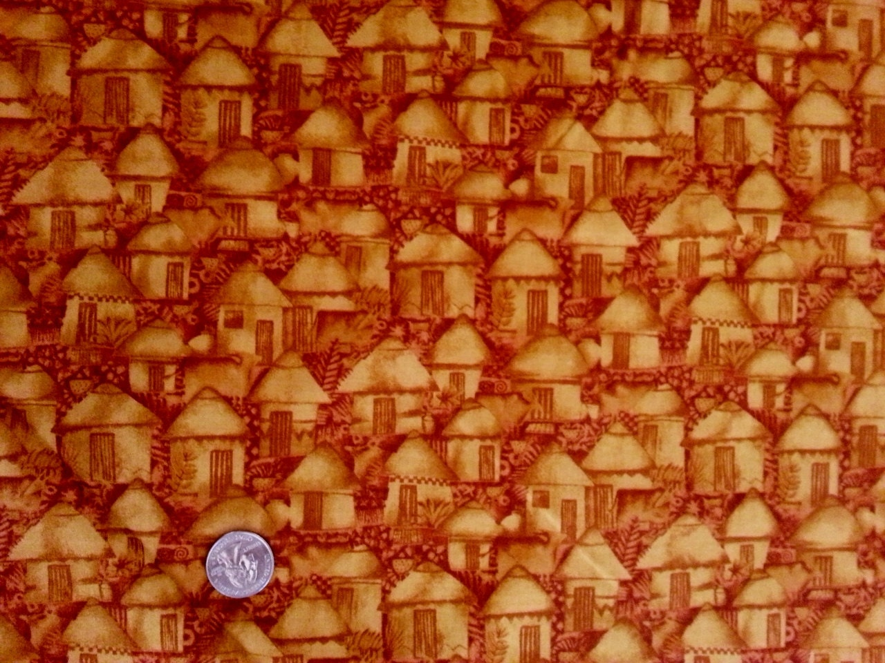 Cranston QuiltShop VIP Yellow Tonal Huts Village Cotton Fabric