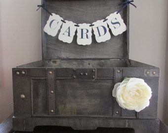 Rustic Wedding Card Box Extra Large, Vintage Rustic Trunk Wedding Box with Custom Color Banner and Date
