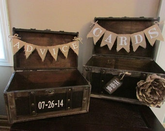Rustic Wedding Card Box Holder and Advice Trunk, Vintage Trunk Wedding Card Box & Advice Trunk w/ Hearts, Card Box and Guest Book Combo B1B