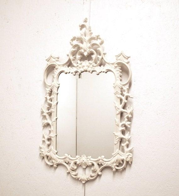 Vintage baroque white enamel mirror turner fashion plate for White baroque style mirror