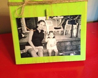 Distressed Wood Photo Frame with Twine Bow & Clip Holder (Lime Green shown, all colors available)