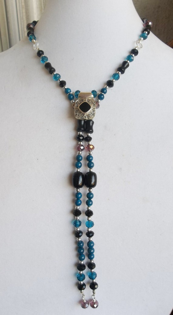 Deep Teal and Black Necklace with Sterling Silver Black Onyx Marcasite Focal Pendant