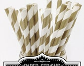 Gold Striped Paper Straws 25pcs - MADE in USA