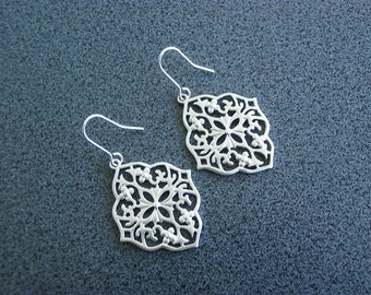Filigree Silver earrings dangle chandelier paisley jewelry birthday gift present