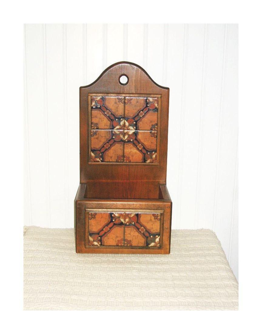 Wooden Box Wall Decor : Vintage wooden storage box farmhouse kitchen wood ceramic
