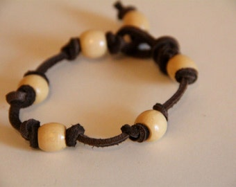 Leather and Wood Beaded Bracelet