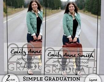 Simple Graduation Announcement - 2 sizes - Instant Download - SRFdesigns