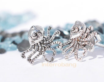 Cute octopus stud earrings made of  sterling silver plated in white gold, ocean, sealife, marine jewelry
