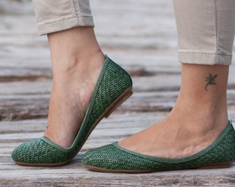Green Woven Shoes, Vegan Leather Shoes, Loafers, Flat Shoes, Ballerina Shoes, Slip Ons, Green Shoes, Green Flats , Free Shipping