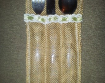 Hessian/Burlap cutlery holders