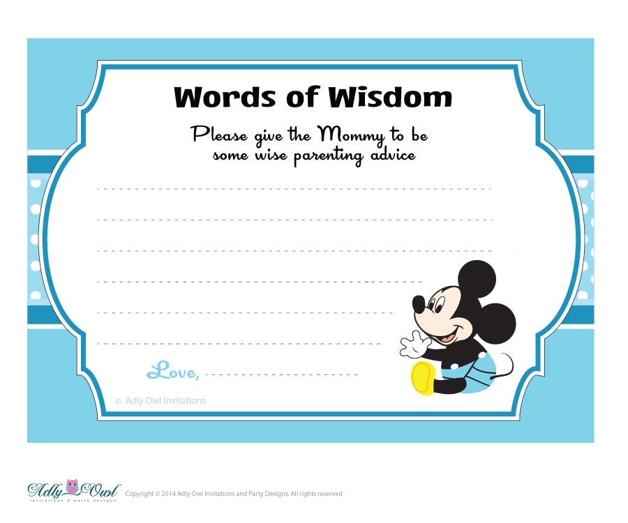 blue white boy mickey mouse words of wisdom advice card for