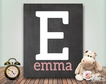 NURSERY letter print Nursery Letter ART:baby girl nursery,baby boy nursery,Nursery Artwork,Chalkboard Print,Nursery monogram,Letter print