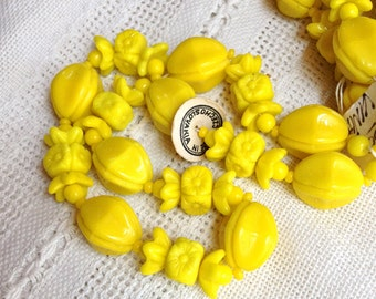 Vintage Czech Glass Opaque Yellow Beads