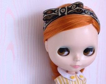 Blythe Headband ~ Black and Tan Vintage Trim Bow Headband for Blythe Dolls ~ by Violet Poppy