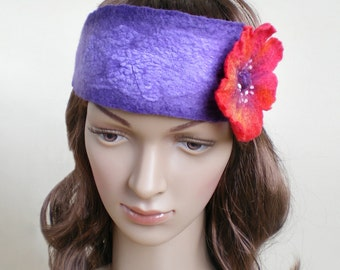 Red Poppy Flower Headband Womens Floral Felt Purple Hairband Eco Friendly Hair Accessory Ready to Ship Now