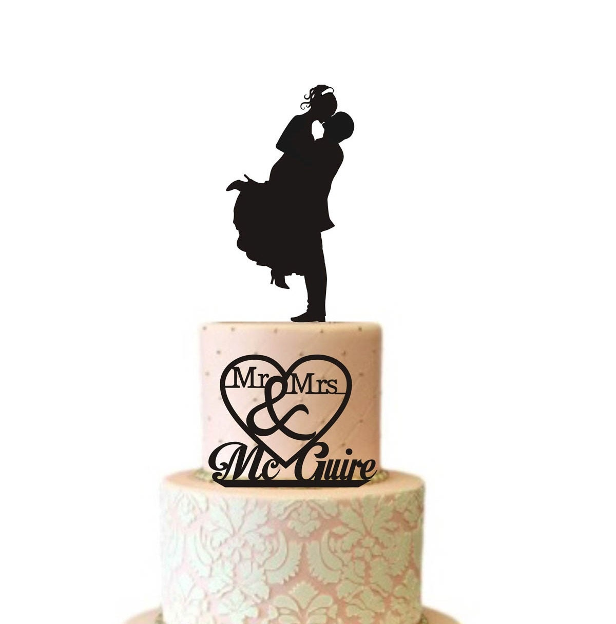 Two Tier Wedding Cake Topper Silhouette for SMALL CAKE TOPS