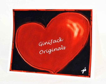Original Art Blank Note Cards, Heart, Love, Valentine