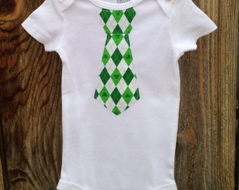 St. Patrick's day tie onesie, green argyle, green chevron