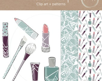 Modern Makeup CLIP ART and PATTERNS - for personal or commercial - scrapbooking, photography or logo