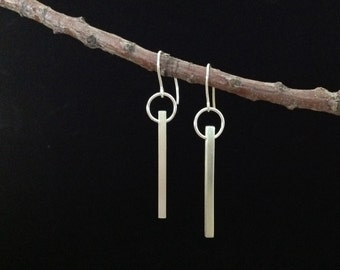 Sterling silver dangle earrings; circle and rectangle sterling earrings; kinetic earrings; long sterling earrings