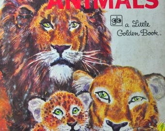 Wild Animals Little Golden Book with Pictures by Feodor Rojankovsky. 1970s Book Art for Framing.