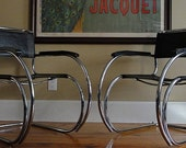MR 20 style leather and chrome chair like Mies van der Rohe