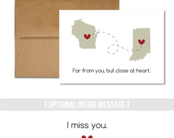 Miss You - Long Distance Card, Custom States