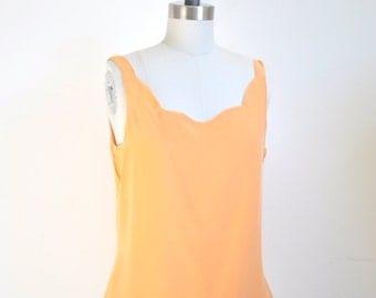 Silk Scalloped Reversible Tank Top Peach Orange Ivory S M