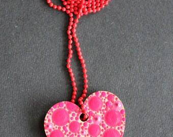 Pink Dotty Heart Shaped Necklace by Dizzysdots