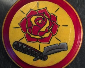 Straight Razor Rose Wooden Plaque