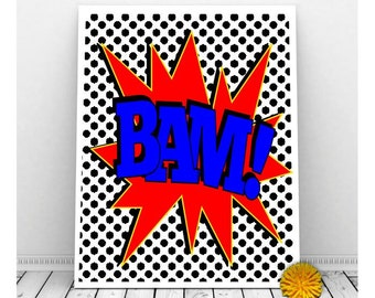 Superhero Wall Art BAM Instant Download