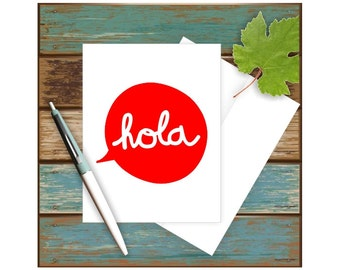 Hola Note Card, Funny Greeting Card, Hola Greeting Card, Spanish Card, Blank Note Card, Spanish Language, Hello in Spanish, Hello Card