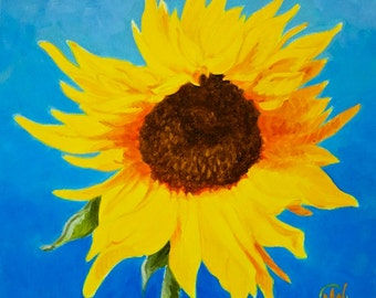 "Sunflower Original Botanical Art Acrylic on Canvas 12""x12"""