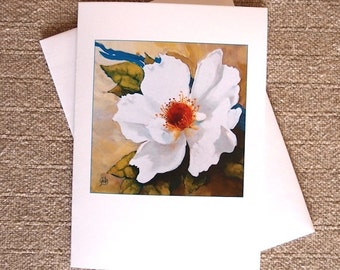 White Rose and Blue Ribbon Blank Card from my original botanical painting