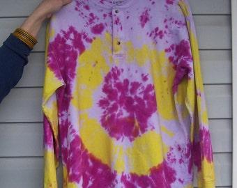 Handmade Tie-Die Shirt Size L large Purple Yellow