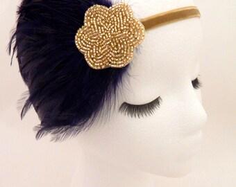 The Lucille - navy blue gold fascinator, navy Gatsby headpiece, blue 1920s headband, navy blue feather 1920 hair accessory, women's headband