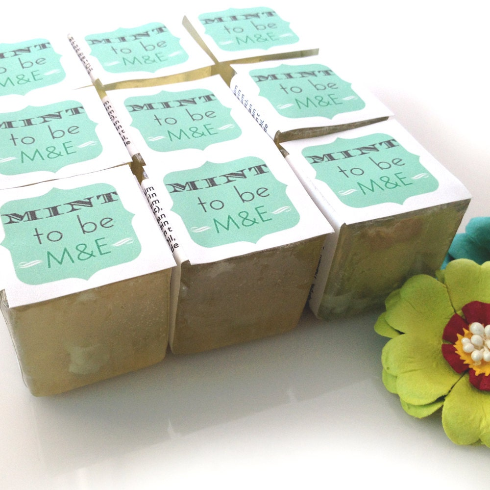 Bridal shower favors soaps custom mint to be for Personalized wedding shower favors