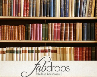 Book Shelf Backdrop, Library Books Photography Backdrop, Photo Backdrop, photo prop - Vintage Old Books Photo Drop (FD6033)
