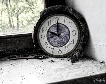 Urban Decay, Home Decor, Office Decor, grunge photography, 8x10 fine art print, urban exploring, broken clock in abandoned house