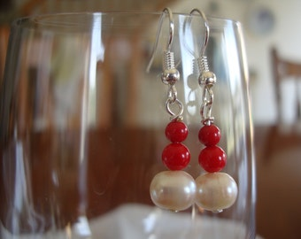 Red Coral and Freshwater Pearl dangle earrings