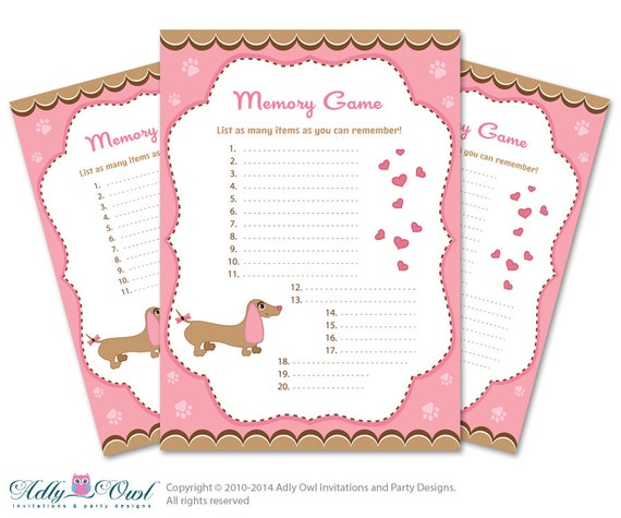 dog memory game for baby shower printable card for baby dog shower