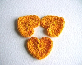 Crochet hearts applique, 15 mini hearts, embellishments,Spring gift, small wedding favor, scrapbooking,wedding decorations, cards, gift idea