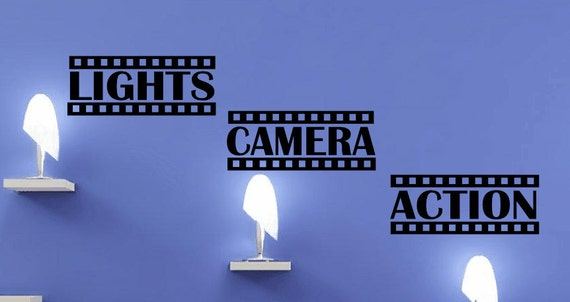 Lights Camera Action Vinyl Wall Decal Home theater sticker