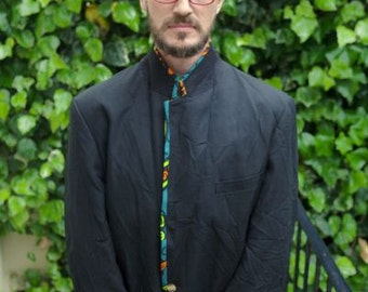 Mens Suit Jacket, Vintage revived with African print Lining