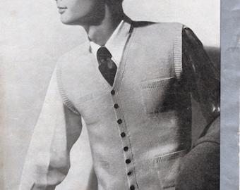 1950's Man's Waistcoat Pattern / Button Down Vest Original Hard Copy Vintage Knitting Pattern / Patons & Baldwins 943