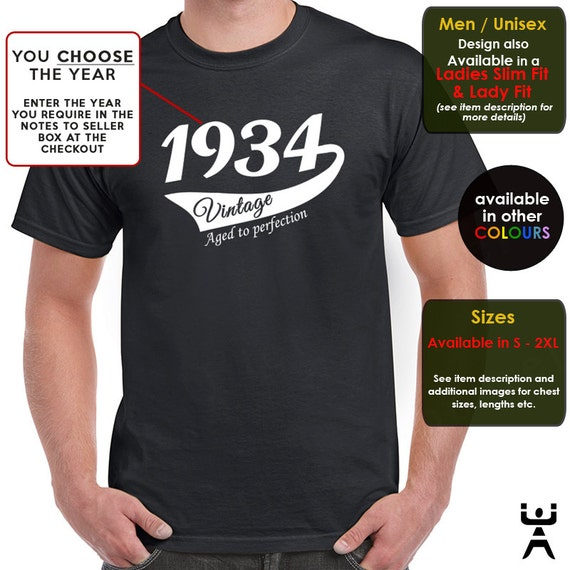 Any Year Vintage birthday t shirt ideal gift for son brother boyfriend male friend. medium large xl 2xl
