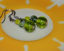 Trendy Green Earrings, Spring Green Earrings